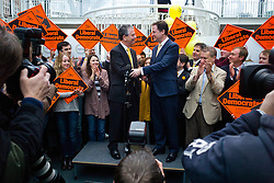 © London News Pictures. 01/03/2013 . West End, UK.  Leader of the Liberal Democrats part NICK CLEGG (right) and MIKE THORNTON MP (left) talking to media at the Ageas Bowl cricket ground in West End, Hampshire after MIKE THORNTON won the Eastleigh By-Election in the early hours of this morning. The seat became vacant when Chris Huhne resigned from the position following his guilty plea to a charge of perverting the course of justice. Photo credit : Ben Cawthra/LNP