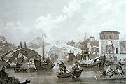 CHICAGO, MUSEUMS and ARTISTS 19th C European Engraving Chinese barges on Grand Canal Art Institute of Chicago