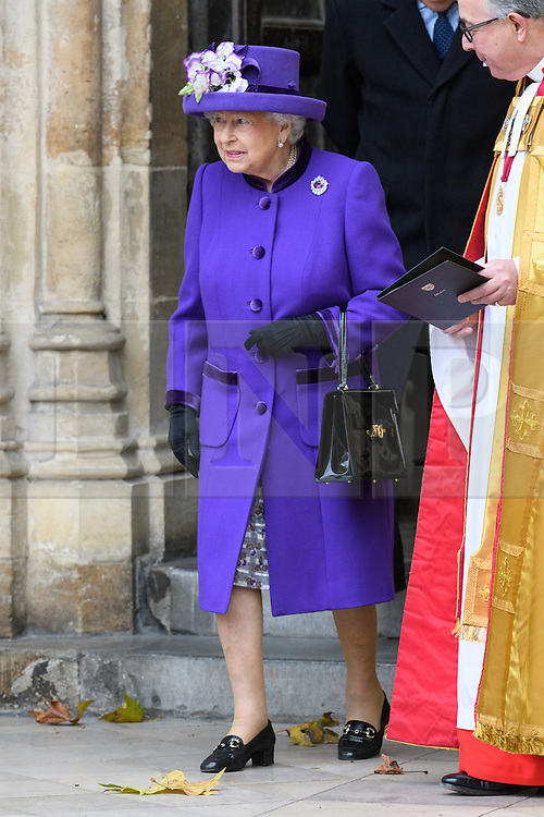 © Licensed to London News Pictures. 24/11/2016. Her Majesty The Queen, accompanied by The Duke of Edinburgh attend a Service of Thanksgiving at Westminster Abbey to celebrate the Diamond Anniversary of The Duke of Edinburgh's Award (DofE). London, UK. Photo credit: Ray Tang/LNP