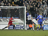 Photo: Lee Earle.<br /> Millwall v Everton. The FA Cup. 07/01/2006. Millwall keeper Andy Marshall (L) is beaten by Leon Osman's strike (R, hidden)