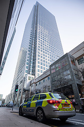 © Licensed to London News Pictures. 08/01/2019. London, UK. General view of Canary Wharf near the scene where a man has died after falling from height in Canary Wharf Shopping Centre. He was pronounced dead at the scene shortly after 9am. Yesterday, another man died at Canary Wharf station after also falling from height. Photo credit : Tom Nicholson/LNP