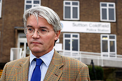 © Licensed to London News Pictures. 20/12/12. Sutton Coldfield, West Midlands, UK. Former Conservative chief whip, Andrew Mitchell leaving  Sutton Coldfield Police Station after meeting members of the local police force. Photo credit : Dave Warren/LNP