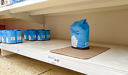© Licensed to London News Pictures. 20/09/2020. London, UK. Nearly empty shelves of self raising flour in a Sainsbury's supermarket in London, as essential items start to run out, amid a possible second lockdown due to a rise in COVID-19  cases. Photo credit: Dinendra Haria/LNP