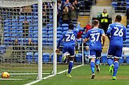 Cardiff City's Kadeem Harris (24) celebrates after scoring his teams 1st goal. EFL Skybet championship match, Cardiff city v Rotherham Utd at the Cardiff city stadium in Cardiff, South Wales on Saturday 18th February 2017.<br /> pic by Carl Robertson, Andrew Orchard sports photography.