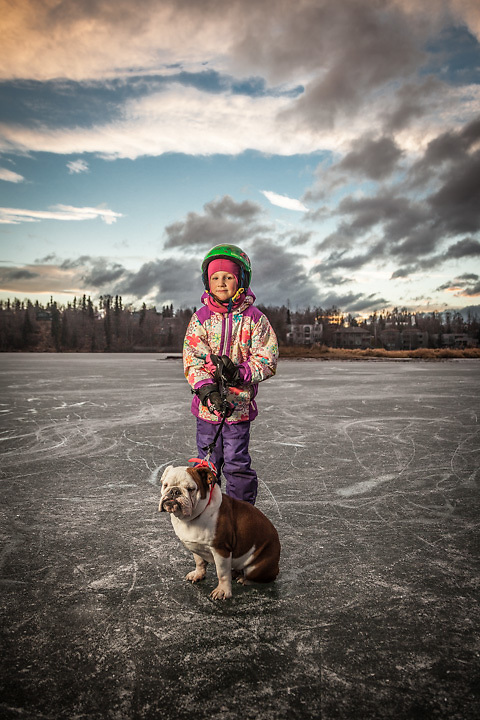 Sarah Rea with her English Bull Dog, Nellie, at Westchester Lagoon, Anchorage.  Grandmother: Kris Selman  kris@gci.net