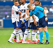 May 16, 2021 - Kansas City, KS, United States:   Referee Alan Kelly sprays a line for a Vancouver wall against a Sporting KC free kick. Sporting KC beat the Vancouver Whitecaps FC 3-0 in a Major League Soccer game. <br /> Photo by Tim Vizer/Polaris