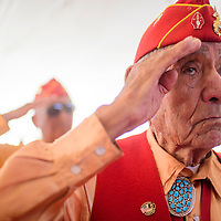 081415       Cable Hoover<br /> <br /> Navajo Codetalker George Willie salutes the posting of the colors during the Codetalker Day celebration Friday in Window Rock.