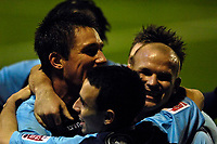 Photo: Jed Wee/Sportsbeat Images.<br /> Tranmere Rovers v Swansea City. Coca Cola League 1. 24/11/2007.<br /> <br /> Swansea celebrate with matchwinner Andy Robinson (R).