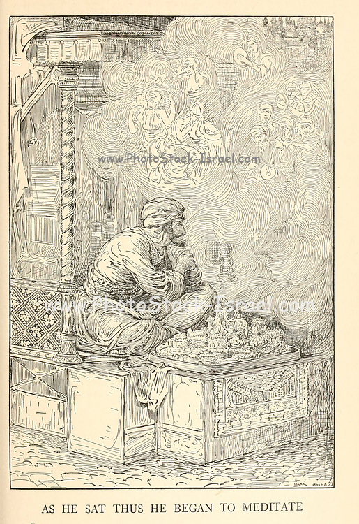 As He Sat Thus He Began To Meditate from the book '  The Arabian nights' entertainments ' Test and Illustrations by Louis Rhead, Published  in New York by Harper & Brothers in 1916. In order to save her life, Sheherazade entertains the sultan by telling him wondrous stories
