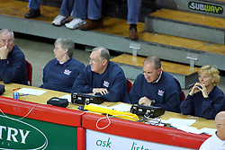 26 October 2007: The Drake Bulldogs were defeated 3 - 0  by the Illinois State Redbirds at Redbird Arena on the campus of Illinois State University in Normal Illinois. .<br /> <br /> Shown on the bench crew (L-R):<br /> Larry Quane <br /> Jan Johnson <br /> Dave Gerdes <br /> Mike Lockett <br /> Kathy Whitney