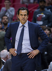 January 7, 2018 - Miami, FL, USA - Miami Heat head coach Erik Spoelstra watches closely during the last few minutes of the fourth quarter against the Utah Jazz on Sunday, Jan. 7, 2018 at the AmericanAirlines Arena in Miami, Fla. The Miami Heat defeated the Utah Jazz, 103-102. (Credit Image: © Matias J. Ocner/TNS via ZUMA Wire)