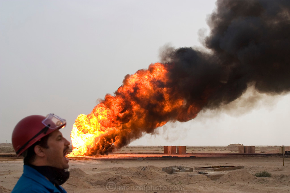 One of the oil wells set ablaze by retreating Iraqi troops in the southern Iraq Rumaila oil field The wells were set on fire with explosives placed by retreating Iraqi troops when the US and UK invasion began. Seven or 8 wells were set ablaze but at least one other was detonated but did not ignite. The Rumaila field is one of Iraq's biggest with five billion barrels in reserve. Rumaila is also spelled Rumeilah.