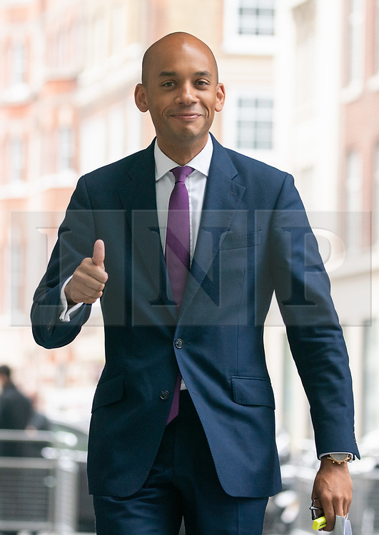 © Licensed to London News Pictures. 19/05/2019. London, UK. Change UK politician Chuka Umunna arriving at BBC Broadcasting House to appear on The Andrew Marr Show this morning. Photo credit : Tom Nicholson/LNP