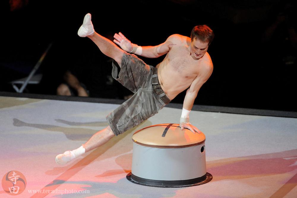 Sep 21, 2008; San Jose, CA, USA; Morgan Hamm performs during the 2008 Tour of Gymnastics Superstars post-Beijing Olympic tour at HP Pavilion. Mandatory Credit: Kyle Terada-Terada Photo