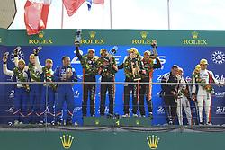 June 17, 2018 - Le Mans, France - 26 G DRIVE RACING (RUS) ORECA 07 GIBSON LMP2 ROMAN RUSINOV (RUS) ANDREA PIZZITOLA (FRA) JEAN ERIC VERGNE (FRA) WINNER LMP2.#36 SIGNATECH ALPINE MATMUT (FRA) ALPINE A470 GIBSON LMP2 NICOLAS LAPIERRE (FRA) ANDRE NEGRAO (BRA) PIERRE THIRIET (FRA) SECOND LMP2.#39 GRAFF SO24 (FRA) ORECA 07 GIBSON LMP2 VINCENT CAPILLAIRE (FRA) JONATHAN HIRSCHI (CHE) TRISTAN GOMMENDY (FRA) THIRD LMP2 (Credit Image: © Panoramic via ZUMA Press)
