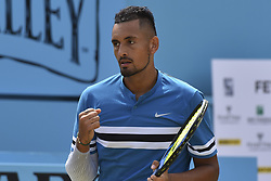 June 23, 2018 - London, England, United Kingdom - Nick Kyrgios of Australia celebrates a point during the semi final singles match on day six of Fever Tree Championships at Queen's Club, London on June 23, 2018. (Credit Image: © Alberto Pezzali/NurPhoto via ZUMA Press)
