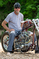 Brandon Keene with his Keene Built drop-seat rigid 1984 custom Harley-Davidson Evo at the Tennessee Motorcycle and Music Revival at Loretta Lynn's Ranch. Hurricane Mills, TN, USA. Saturday, May 22, 2021. Photography ©2021 Michael Lichter.
