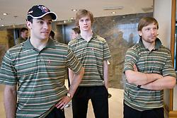 Bostjan Golicic, Ziga Jeglic and Mitja Sivic at meeting of Slovenian Ice-Hockey National team, on April 15, 2010, in Hotel Lev, Ljubljana, Slovenia.  (Photo by Vid Ponikvar / Sportida)