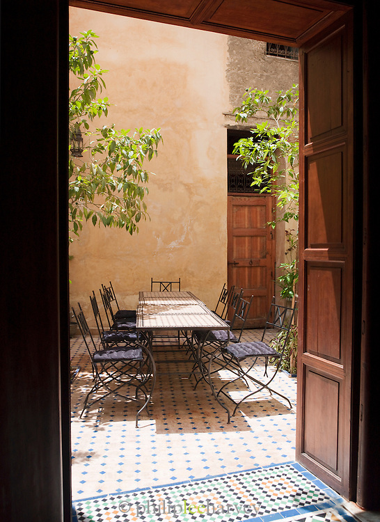The terrace in a Dar, a traditional Moroccan house, now converted to a luxury hotel in Fes, Morocco