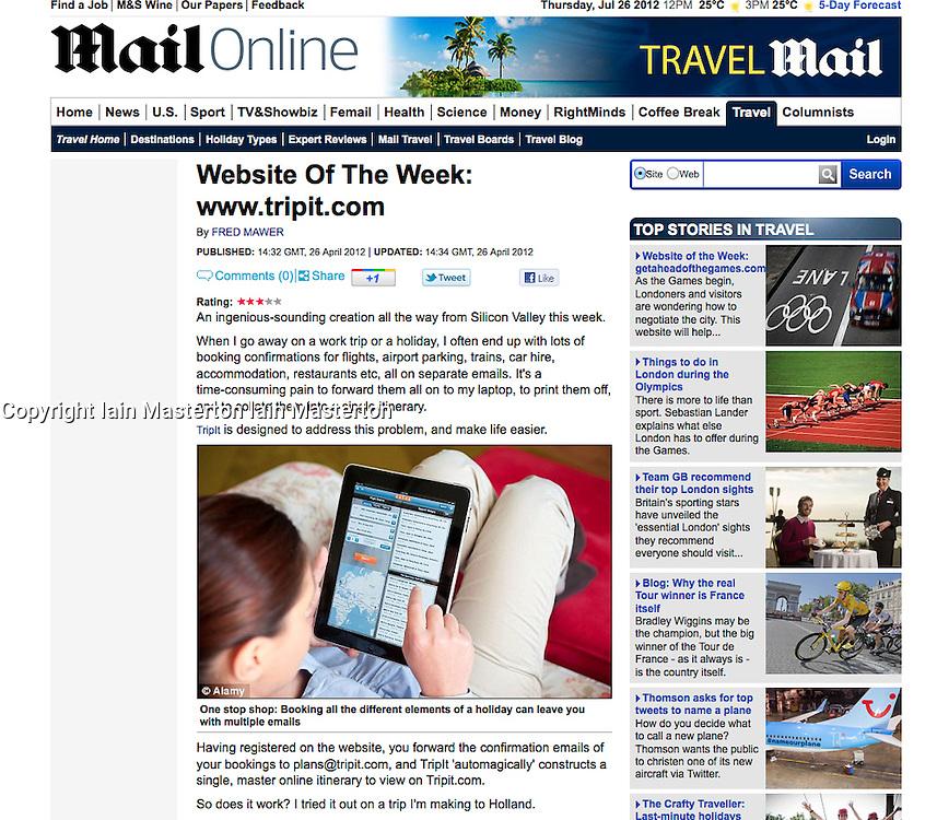 Mail Online; Kayak travel website on iPad