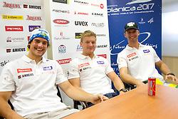 Bostjan Kline, Andrej Krizaj and Gasper Markic during press conference of Slovenian Men Alpine Ski Team, on August 22, 2011, in SZS, Ljubljana, Slovenia. (Photo by Vid Ponikvar / Sportida)