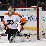 Goaltender Steve Mason, Philadelphia, Flyers, in action during the New York Rangers Vs Philadelphia Flyers, NHL regular season game at Madison Square Garden, New York, USA. 26th March 2014. Photo Tim Clayton