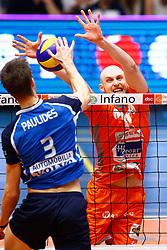 20150501 BEL: Volley Behappy2 Asse-Lennik - Knack Roeselare, Zellik<br />Joppe Paulides (3) of Knack Volley Roeselare, Jasper Diefenbach (10) of Volley behappy2 Asse - Lennik<br />©2014-FotoHoogendoorn.nl / Pim Waslander