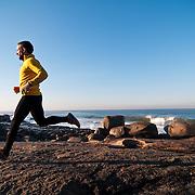Jorje Santos runs along the coast, Lavadores, Vila Nova de Gaia, Portugal.