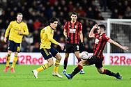 Hector Bellerin (2) of Arsenal is challenged by Lewis Cook (16) of AFC Bournemouth during the The FA Cup match between Bournemouth and Arsenal at the Vitality Stadium, Bournemouth, England on 27 January 2020.