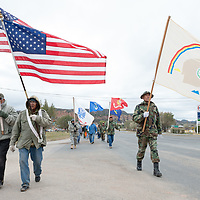 The veterans walk to the Navajo Nation Council Chambers, in Window Rock on Wednesday.