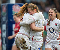 England Women's Harriet Millar-Mills celebrates scoring her sides fifth try England Women's Amber Reed<br /> <br /> Photographer Bob Bradford/CameraSport<br /> <br /> 2020 Women's Six Nations Championship - England v Wales - Saturday 7th March 2020 - The Stoop - London<br /> <br /> World Copyright © 2020 CameraSport. All rights reserved. 43 Linden Ave. Countesthorpe. Leicester. England. LE8 5PG - Tel: +44 (0) 116 277 4147 - admin@camerasport.com - www.camerasport.com