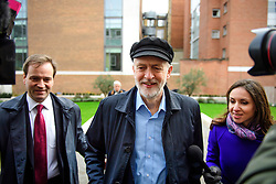 © Licensed to London News Pictures. 14/01/2017. London, UK. Labour Party leader JEREMY CORBYN arrives to deliver a speech at the Fabian Society conference in London on January 14, 2016. Corbyn has come under further pressure as leader following the resignation of Stoke-on-Trent, Tristram Hunt. Photo credit: Ben Cawthra/LNP