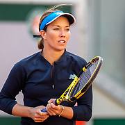 PARIS, FRANCE October 07.  Danielle Collins of the United States  in action against Sofia Kenin of the United States in the Quarter Finals of the singles competition on Court Philippe-Chatrier during the French Open Tennis Tournament at Roland Garros on October 7th 2020 in Paris, France. (Photo by Tim Clayton/Corbis via Getty Images)