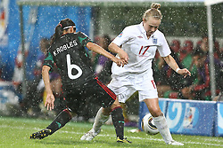 17.07.2010,  Augsburg, GER, FIFA U20 Womens Worldcup, England vs Mexico,  im Bild Robles Kenti (Mexico Nr.6) und Isobel Christiansen (England Nr.17) , EXPA Pictures © 2010, PhotoCredit: EXPA/ nph/ . Straubmeier+++++ ATTENTION - OUT OF GER +++++ / SPORTIDA PHOTO AGENCY