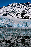 Aialik Glacier creeping into the sea at Aialik Bay, Kenai Fjords National Park, Alaska