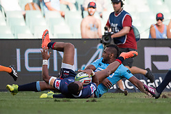 March 18, 2018 - Sydney, NSW, U.S. - SYDNEY, NSW - MARCH 18: Rebels player Marika Koroibete (11) tackled by Waratahs player Alex Newsome(22) at round 5 of the Super Rugby between Waratahs and Rebels at Allianz Stadium in Sydney on March 18, 2018. (Photo by Speed Media/Icon Sportswire) (Credit Image: © Speed Media/Icon SMI via ZUMA Press)