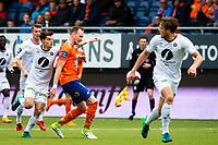 1. divisjon fotball 2018: Aalesund - Mjøndalen. Mjøndalens Ylldren Ibrahimaj (t.v.) og Aron Elis Thrandarson i førstedivisjonskampen i fotball mellom Aalesund og Mjøndalen på Color Line Stadion.