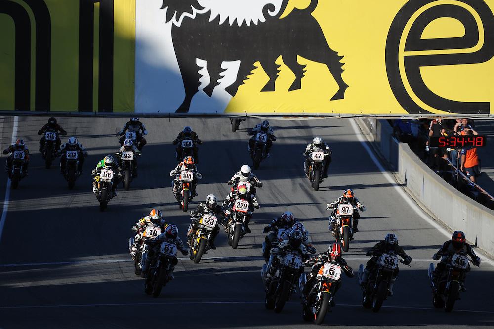 The 2013 AMA Harley Davidson XR1200 race starts at Mazda Raceway Laguna Seca.