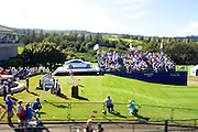 January 10 2016: Davis Love III hits his opening tee shot during the Final Round of the Hyundai Tournament of Champions at Kapalua Plantation Course on Maui, HI. (Photo by Aric Becker)