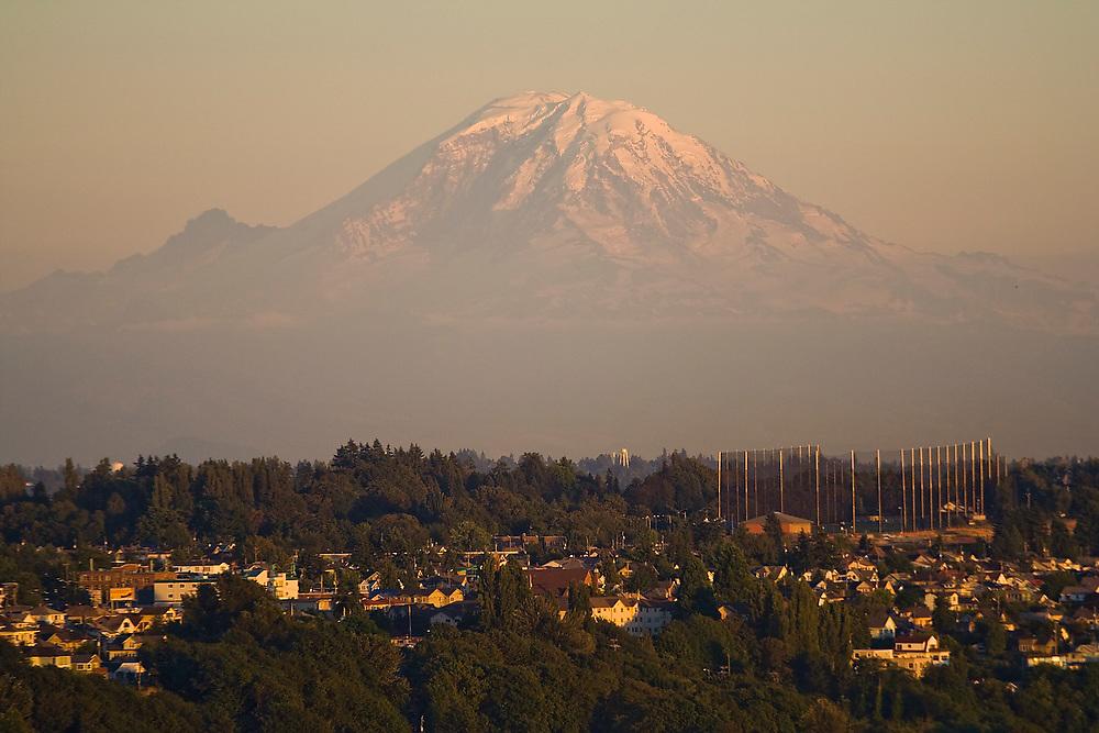 Mount Rainier and suburban homes outside of Seattle, Washington.