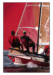 The 2004 Skiff Nationals at Largs held by the SSI.<br /> <br /> Base 1 helmed by Rob Dulso<br /> <br /> Marc Turner / PFM Pictures