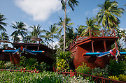 Hat Choeng Mon (beach). Imperial Boat House Hotel. Former rice barges as bungalows.