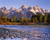 Morning light over the Teton Range from the Snake River, Grand Teton National Park, Wyoming USA