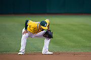 Oakland Athletics shortstop Marcus Semien (10) reacts to a walk against the Los Angeles Angels at Oakland Coliseum in Oakland, California, on September 5, 2017. (Stan Olszewski/Special to S.F. Examiner)