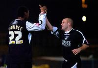 Photo: Charlie Crowhurst.<br />Brighton & Hove Albion v Swansea City. Coca Cola League 1. 05/12/2006. Swansea's Dennis Lawrence (L) celebrates his goal 1-1.