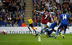 Jamie Vardy of Leicester City (2nd R) scores his sides second goal  - Mandatory byline: Jack Phillips/JMP - 07966386802 - 13/09/2015 - SPORT - FOOTBALL - Leicester - King Power Stadium - Leicester City v Aston Villa - Barclays Premier League