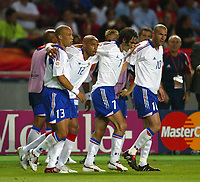 Cohimbra 21/6/2004 Euro2004 <br />Mikael Silvestre, Thierry Henry, Robert Pires and Zinedine Zidane celebrate third goal for France scored by Thierry Henry<br />Photo Andrea Staccioli Graffiti