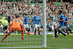 Celtic's James Forrest scores his side's third goal of the game during the Ladbrokes Scottish Premiership match at Celtic Park, Glasgow.