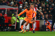 Sadio Mane of Liverpool shields the ball from Darren Fletcher of Stoke City. Premier league match, Stoke City v Liverpool at the Bet365 Stadium in Stoke on Trent, Staffs on Wednesday 29th November 2017.<br /> pic by Chris Stading, Andrew Orchard sports photography.