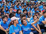09 DECEMBER 2012 - BANGKOK, THAILAND:  Thai college students gather at the Bangkok Art and Culture Centre (BACC) for an anti-corruption rally. About 1,500 Thai university students from 90 universities across Thailand attended the rally. The latest Corruption Perceptions Index survey by Transparency International listed Thailand at number 88 out of 176 countries surveyed. The level of corruption in Thailand is perceived to be on the same par as Malawi, Swaziland and Zambia. Thailand's ranking slipped from 80 last year. A series of surveys show that Thais increasingly view corruption as acceptable. A recent ABAC (Assumption Business Administration College, the forerunner to Assumption University, one of the most respected private universities in Thailand) poll reported that a majority (63 per cent) of Thai people hold the view that corruption in government is acceptable as long as they also benefit from it. A majority of young people under 20 now hold the same attitude. International Anti-Corruption Day has been observed annually, on the 9th December, since the passage of the United Nations Convention Against Corruption on 31 October 2003.       PHOTO BY JACK KURTZ